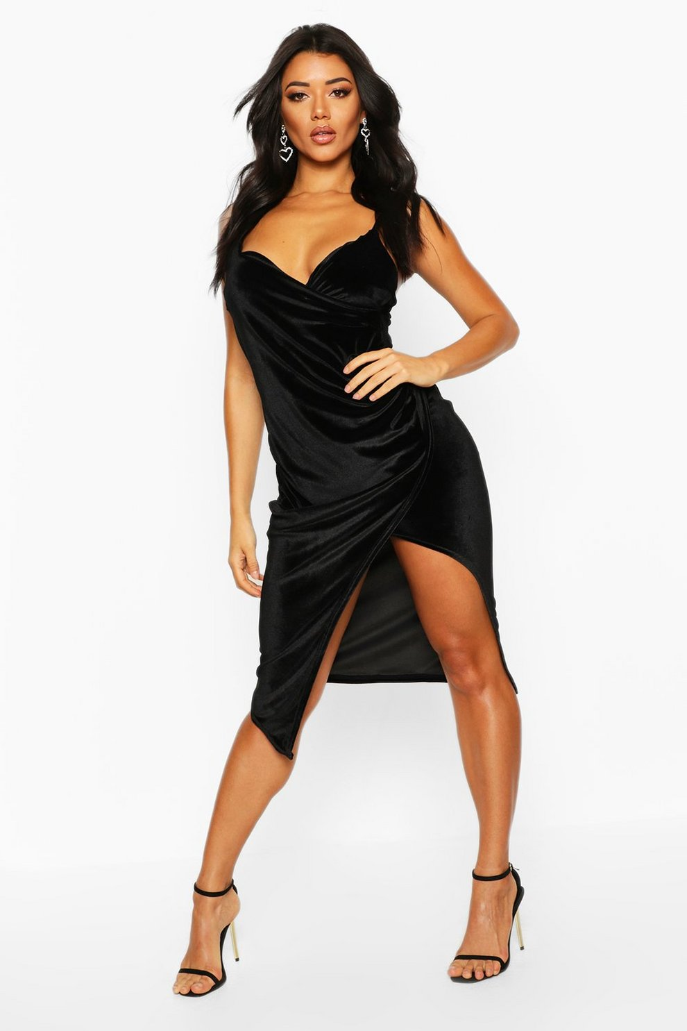1bc7006e756 Womens Black Casey Velvet Wrap Over Strappy Midi Dress. Hover to zoom