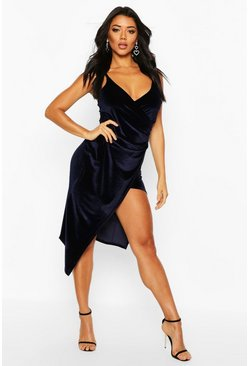 Womens Navy Casey Velvet Wrap Over Strappy Midi Dress
