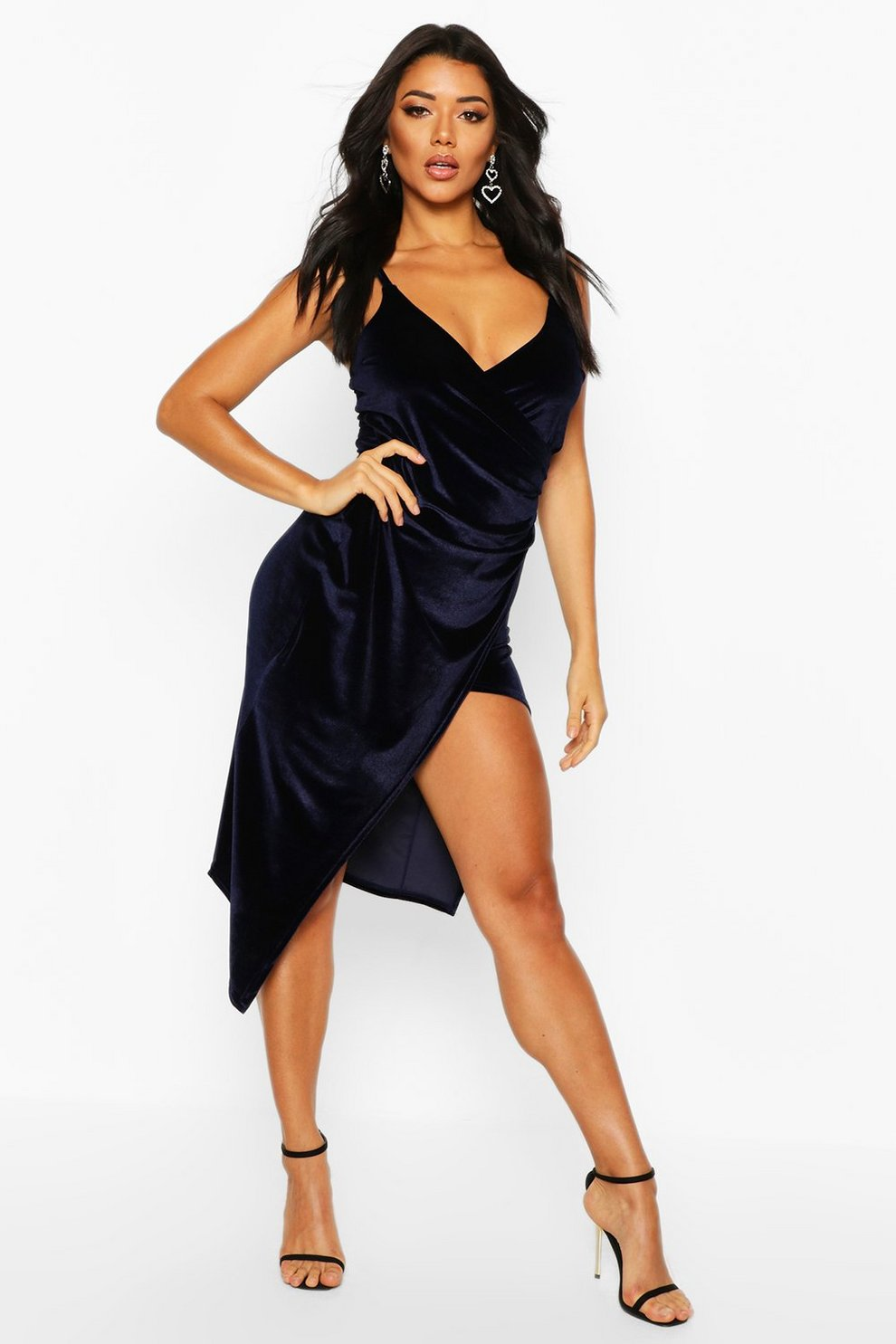 c771d81395e Womens Navy Casey Velvet Wrap Over Strappy Midi Dress. Hover to zoom