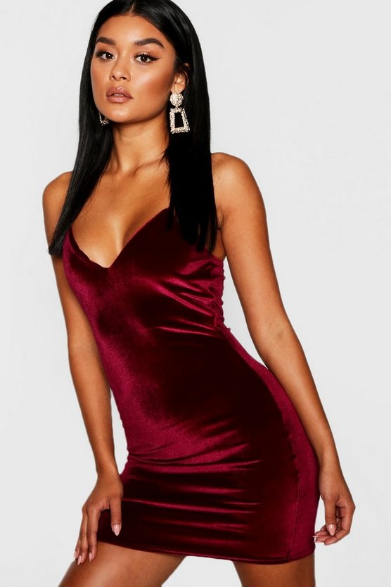Velvet Strappy Plunge Neck Bodycon Dress