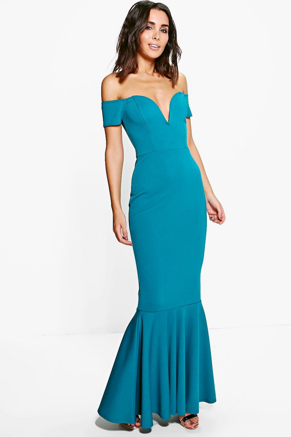65741a6ff5bb Marlin Off The Shoulder Fish Tail Maxi Dress | Boohoo