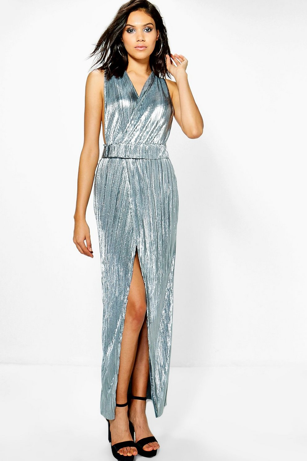 825a473857 Lottie Metallic Pleat Wrap Plunge Maxi Dress