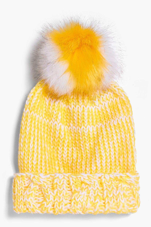 7cf0cf2ae14 Lottie Stripe Faux Fur Pom Beanie Hat. Hover to zoom