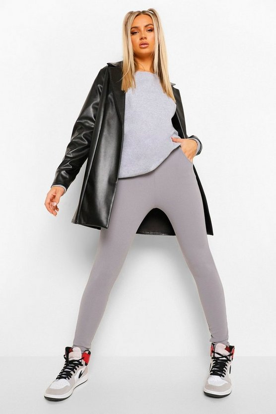 Grey Basic Crepe Stretch Skinny Trousers