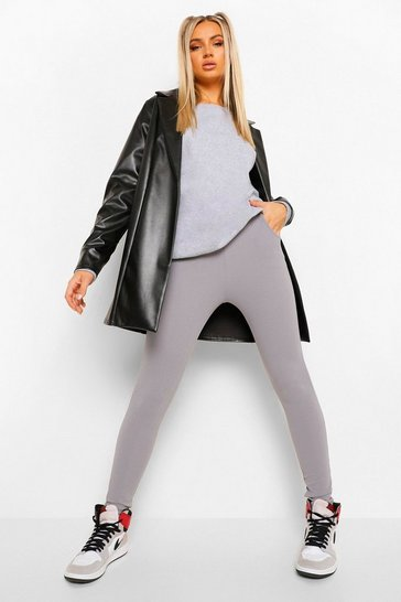 Womens Grey Basic Crepe Stretch Skinny Trousers