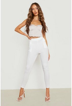 Ivory Basic Crepe Stretch Skinny Trousers