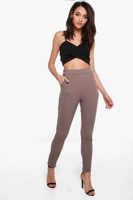Womens Mocha Basic Crepe Stretch Skinny Pants
