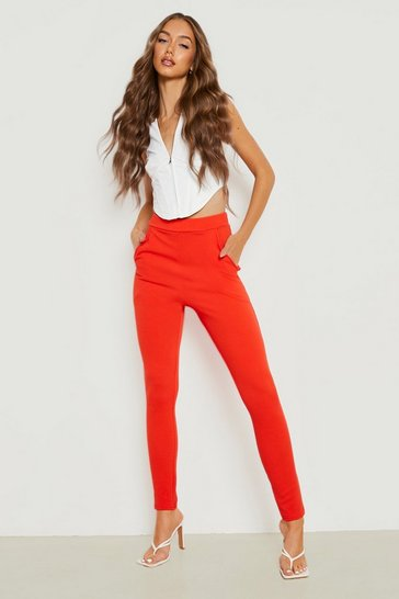 Womens Orange Basic Crepe Stretch Skinny Trousers