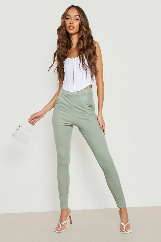 Womens Sage Basic Crepe Stretch Skinny Trousers