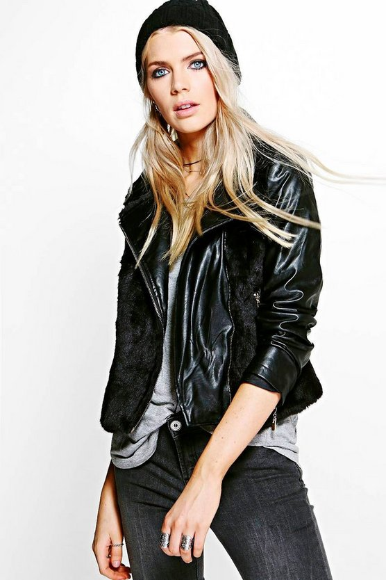 Maisie Faux Fur PU Sleeve Biker Jacket