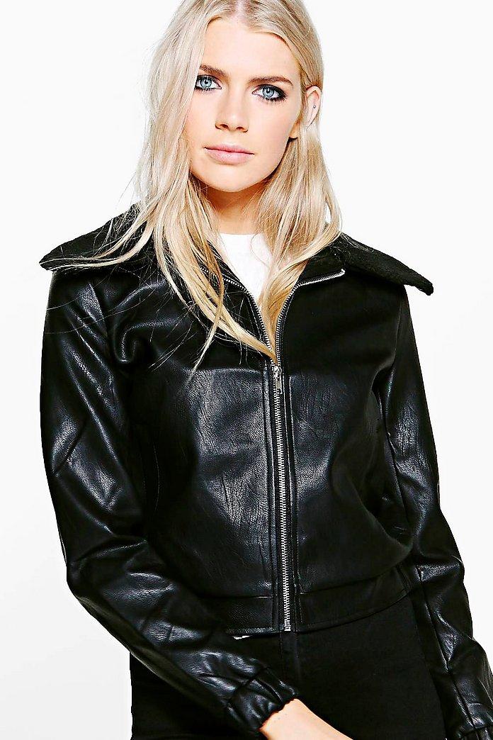 Phoebe Faux Fur Collar PU Bomber Jacket | boohoo