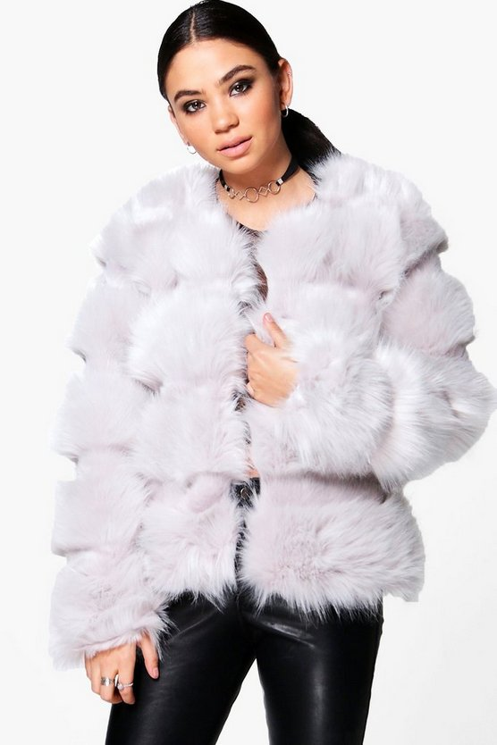 Faux Fur Panelled Coat