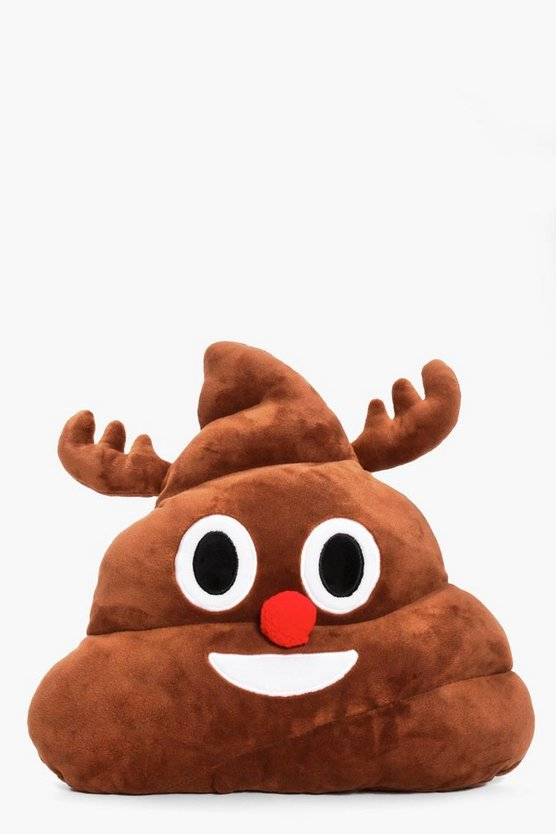 Christmas Reindeer Poo Emoji Cushion