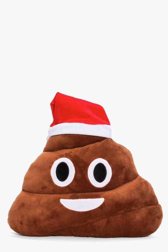 Christmas Santa Poo Emoji Cushion