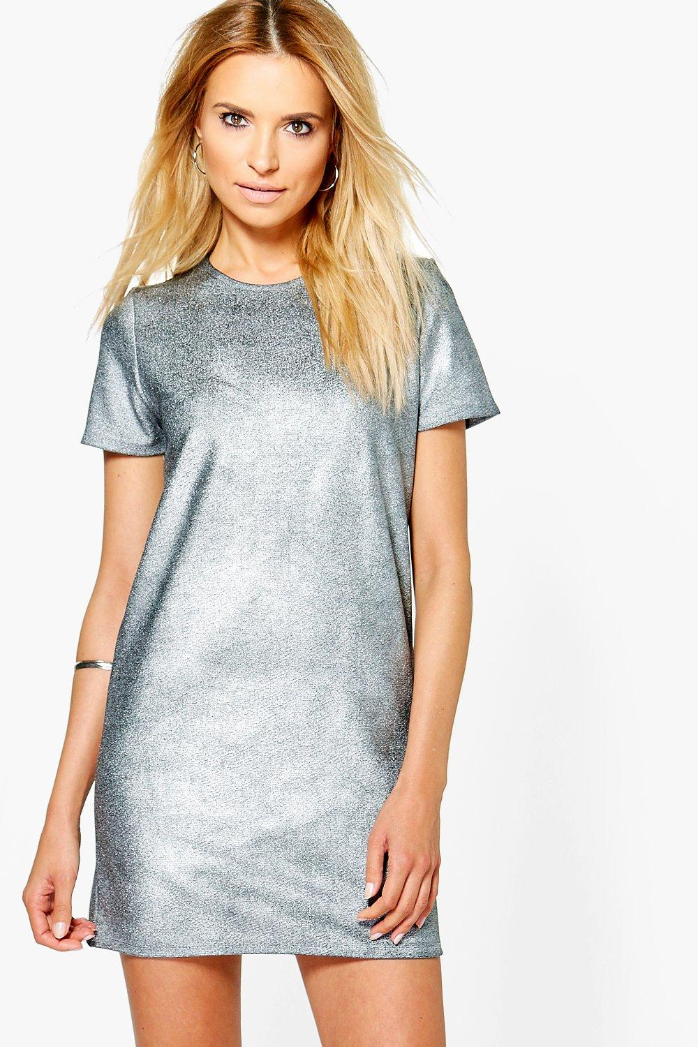 7fea0336067 Penelope Metallic Ribbed Shift Dress. Hover to zoom