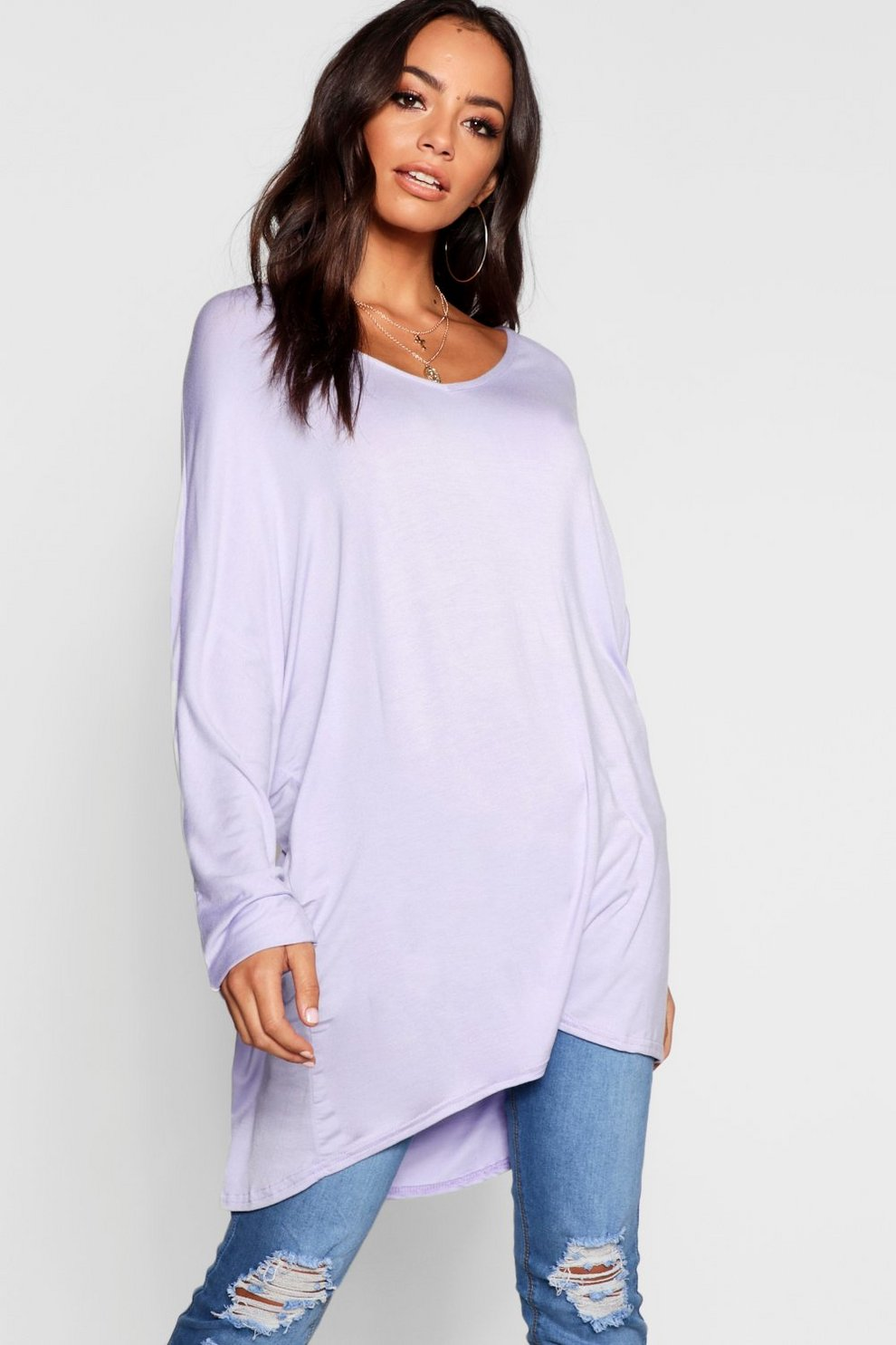 22ead29d19ca Basic Long Sleeve Oversized T-Shirt | Boohoo