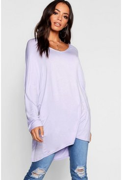 Womens Lilac Basic Long Sleeve Oversized T-Shirt