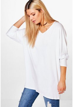 Dam White Basic Long Sleeve Oversized T-Shirt