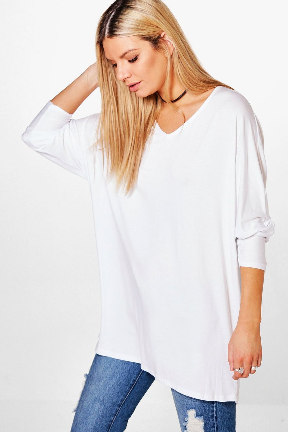 dd881592 Basic Long Sleeve Oversized T-Shirt | Boohoo