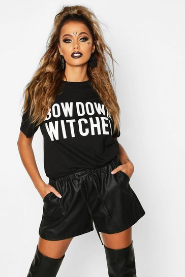 Womens Black Halloween Bow Down Witches Halloween T-Shirt