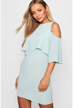 Womens Grey Cold Shoulder Double Layer Dress
