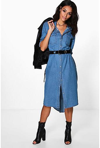 Denim Dress. Stun and impress a crowd wearing a denim dress during a variety of events. Arrive to a fun get together looking gorgeous in a dress that's comfy and fashionable. Denim (27) Shift (5) Shirt Dress (7) Wrap Dress (1) Color Free People Dynomite In Denim Long-Sleeve Mini Dress.