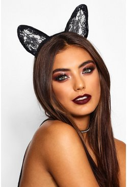 Womens Black Halloween Lace Cat Ears