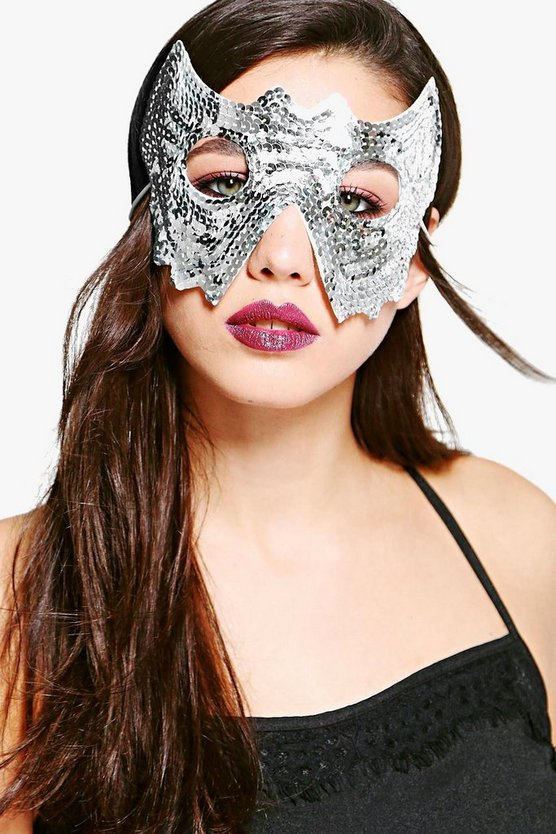 Womens Silver Robyn Sequin Halloween Headband Face Mask