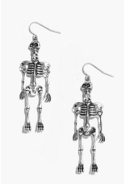 Womens Silver Halloween Skeleton Earrings