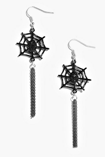 Womens Black Halloween Cobweb Tassel Earrings