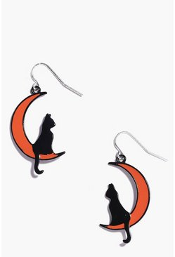 Womens Black Halloween Cat Moon Earrings