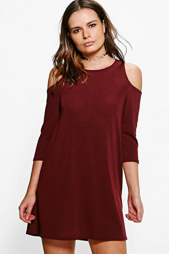 Cold Shoulder Knitted Swing Dress
