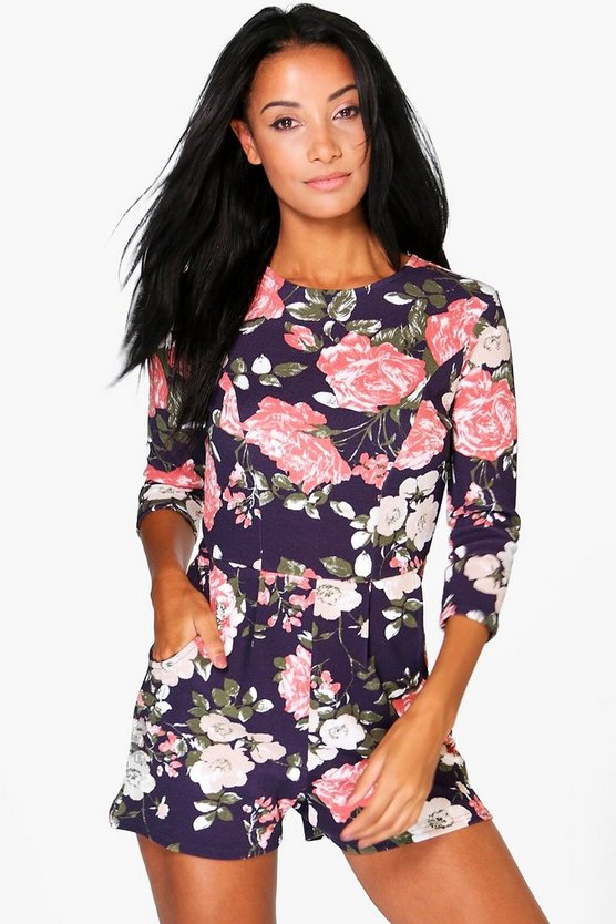 Zoe Floral Print 3/4 Sleeve Playsuit