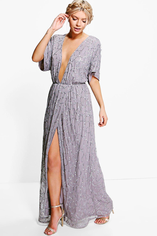 70s Dresses – Disco Dress, Hippie Dress, Wrap Dress Womens Boutique Sequin Plunge Maxi Bridesmaid Dress - grey - 8 $47.00 AT vintagedancer.com