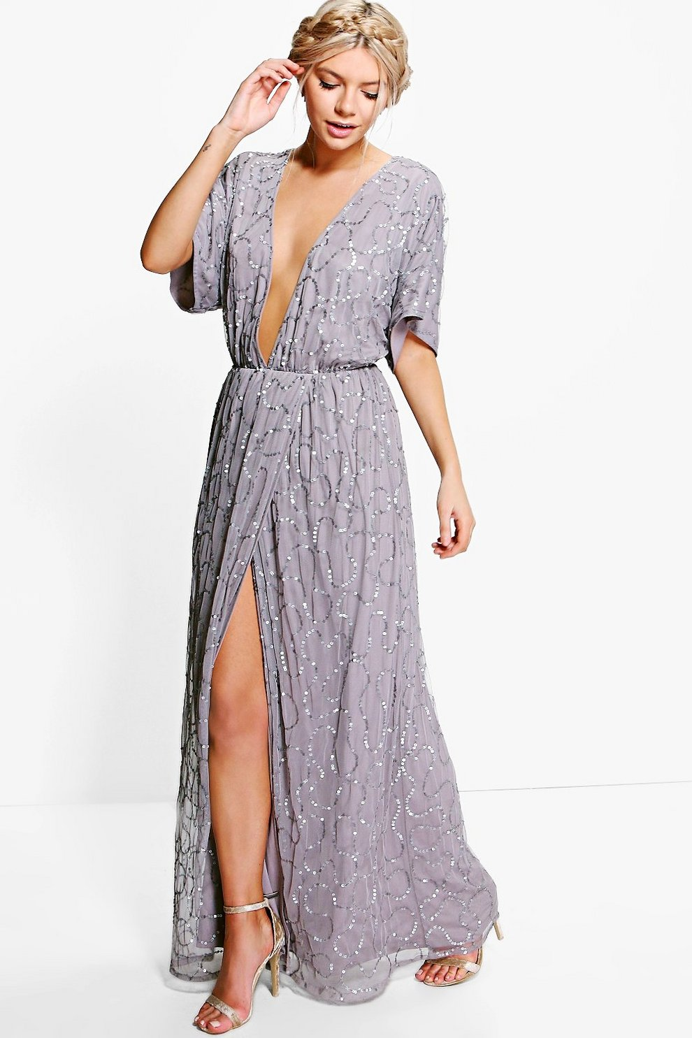 Boutique Sequin Plunge Maxi Dress