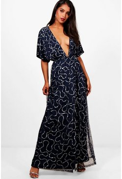 Womens Navy Boutique Sequin Plunge Maxi Dress