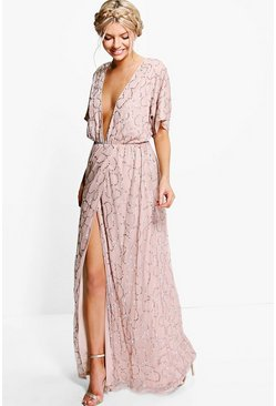 Womens Rose Boutique Sequin Plunge Maxi Dress