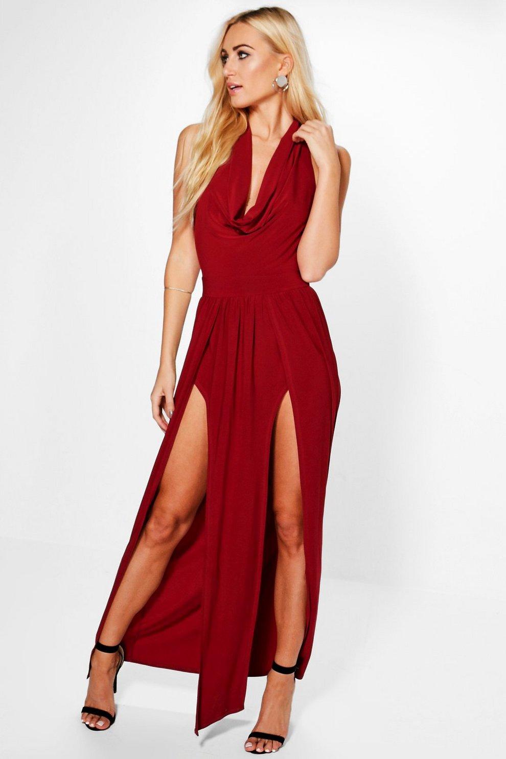 2b8d26c890f9 Morganna Slinky Side Split Maxi Dress | Boohoo