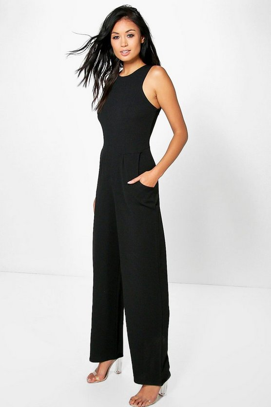 Black Round Neck Textured Jumpsuit