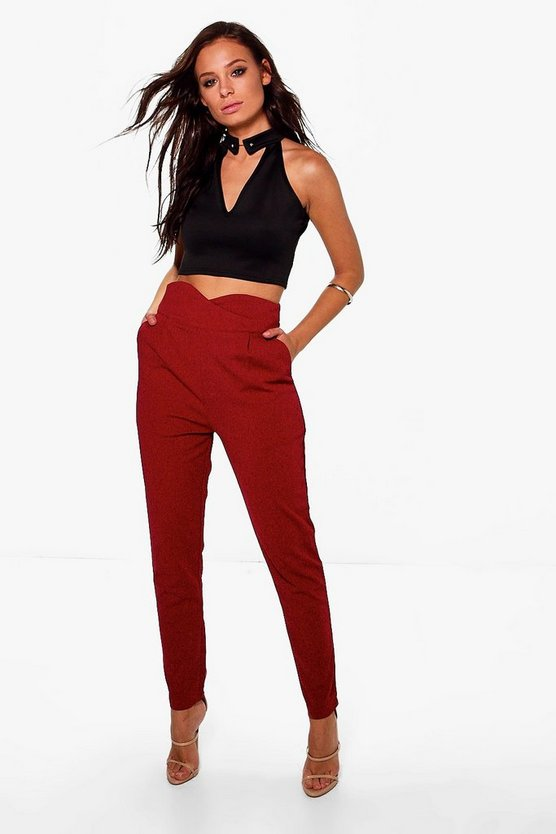 High Waisted Tailored Woven Trousers