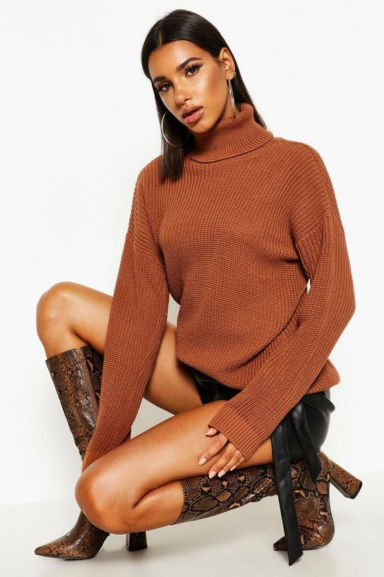 Womens Chestnut Fisherman Roll Neck Sweater