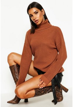 Womens Chestnut Fisherman Roll Neck Jumper
