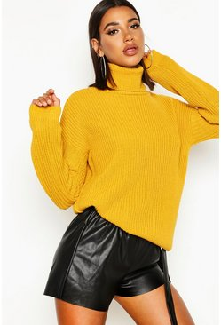 Womens Mustard Fisherman Roll Neck Sweater