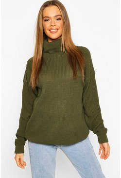 Pull col roulé style pêcheur, Olive, Femme