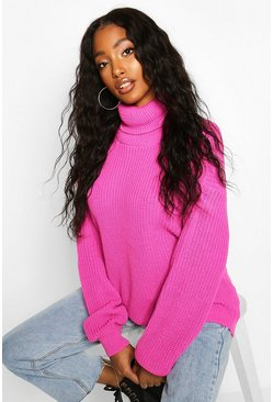Womens Pink Fisherman Roll Neck Jumper