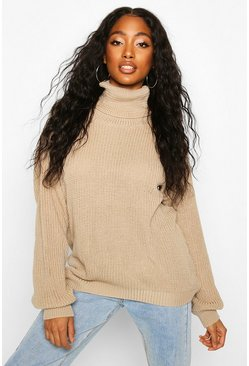 Stone Fisherman Roll Neck Sweater