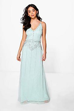 1930s Style Evening Dresses Boutique Tasha Beaded Strappy Maxi Dress mint $90.00 AT vintagedancer.com