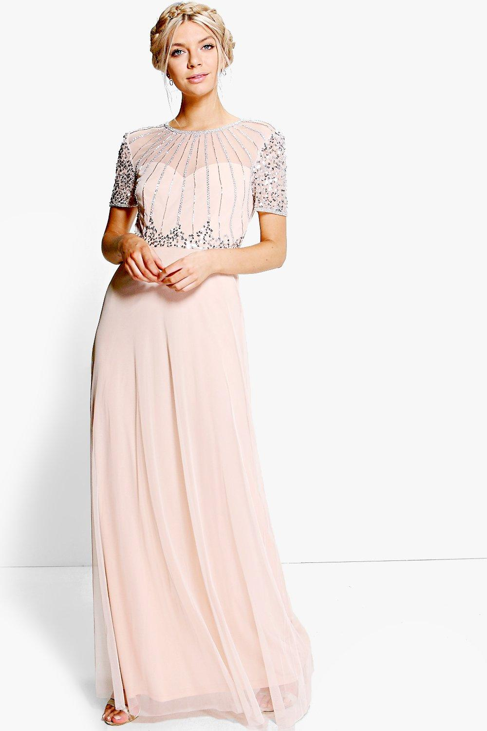 1930s Evening Dresses | Old Hollywood Silver Screen Dresses Womens Boutique Beaded Maxi Dress - pink - 14 $36.00 AT vintagedancer.com