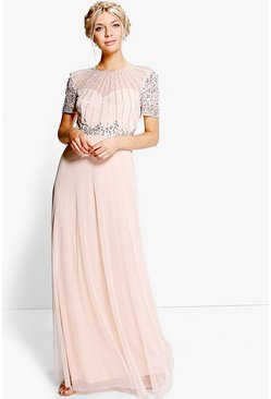 Boutique robe maxi perlée, Blush