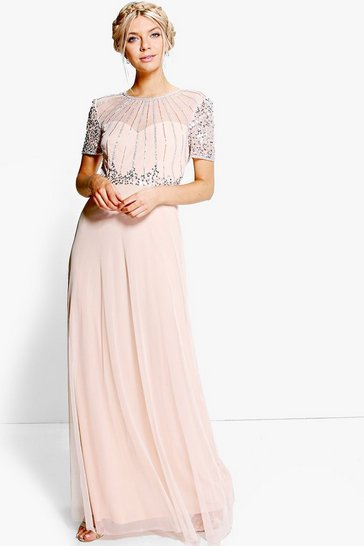 Womens Blush Boutique Beaded Maxi Dress